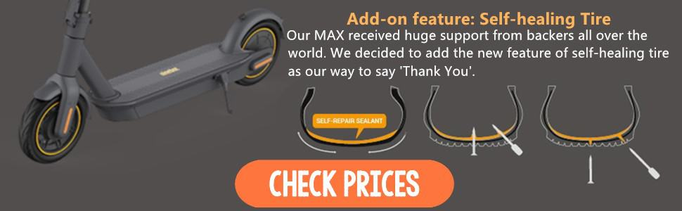 ninebot max electric scooter review self healing tire