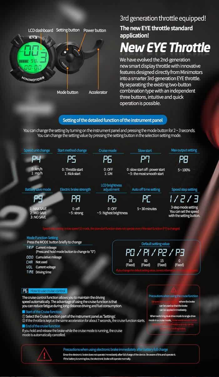 minimotors dualtron display throttle ey3 eye settings